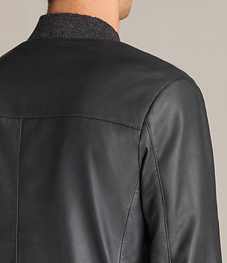 Mens Kieran Leather Bomber Jacket (SLATE BLUE) - Image 7