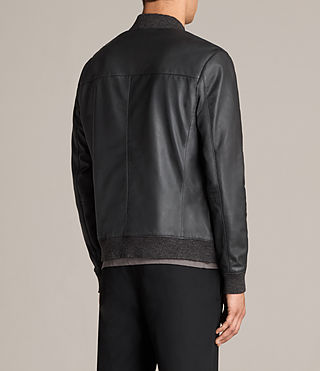 Mens Kieran Leather Bomber Jacket (SLATE BLUE) - Image 8