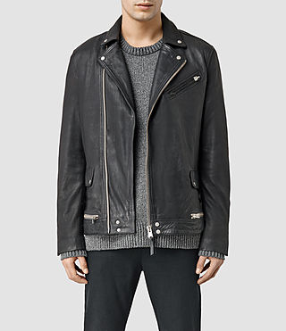 Mens Clay Leather Biker Jacket (INKNAVY)