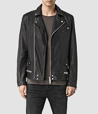 Hombres Clay Leather Biker Jacket (Black)
