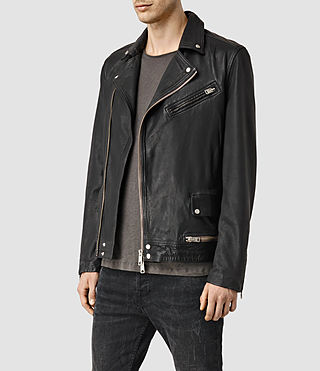 Hommes Clay Leather Biker Jacket (Black) - product_image_alt_text_2