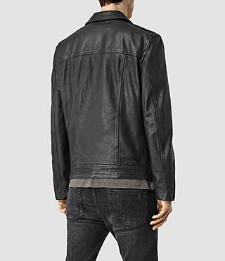 Mens Clay Leather Biker Jacket (Black) - product_image_alt_text_3