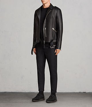 Men's Kaho Leather Biker Jacket (Black) - Image 3