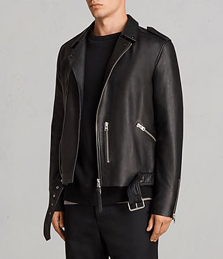 Men's Kaho Leather Biker Jacket (Black) - Image 5