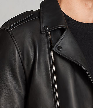 Men's Kaho Leather Biker Jacket (Black) - Image 6