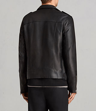Men's Kaho Leather Biker Jacket (Black) - Image 7
