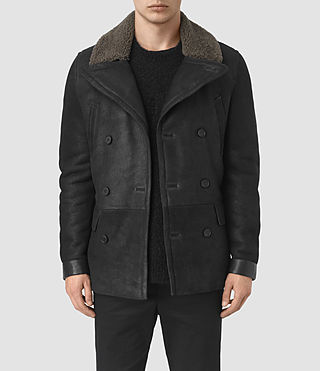 Mens Ryota Shearling Peacoat (Black)