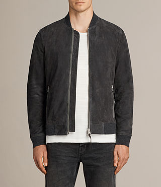 Men's Kaigo Suede Bomber Jacket (SLATE BLUE) - product_image_alt_text_1