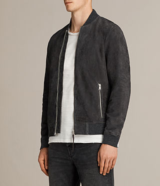 Men's Kaigo Suede Bomber Jacket (SLATE BLUE) - product_image_alt_text_3