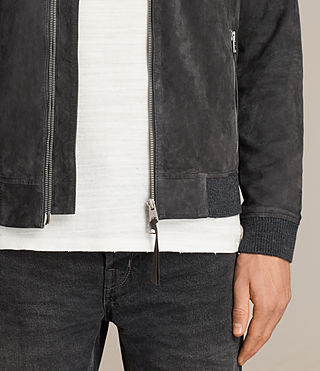 Men's Kaigo Suede Bomber Jacket (SLATE BLUE) - product_image_alt_text_6
