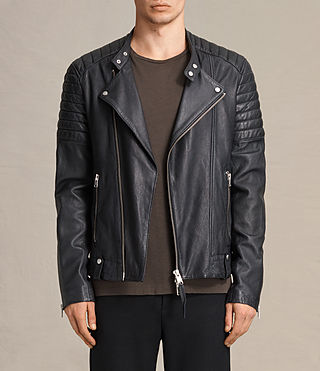 Mens Jasper Leather Biker Jacket (Ink) - product_image_alt_text_1