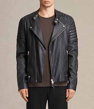 Mens Jasper Leather Biker Jacket (Ink) - product_image_alt_text_1