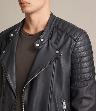 Mens Jasper Leather Biker Jacket (Ink) - product_image_alt_text_2