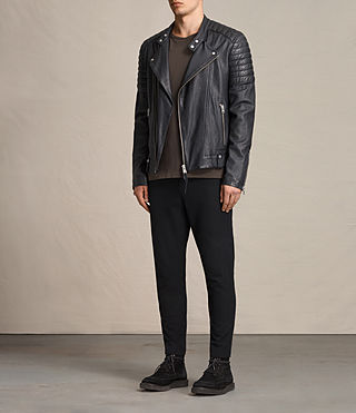 Mens Jasper Leather Biker Jacket (Ink) - product_image_alt_text_3