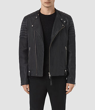 Mens Jasper Leather Biker Jacket (INK NAVY)