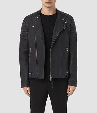 Hombres Jasper Leather Biker Jacket (INK NAVY) -
