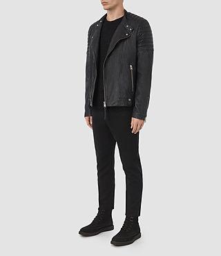 Hombres Jasper Leather Biker Jacket (INK NAVY) - product_image_alt_text_2