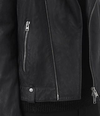 Men's Jasper Leather Biker Jacket (INK NAVY) - product_image_alt_text_4