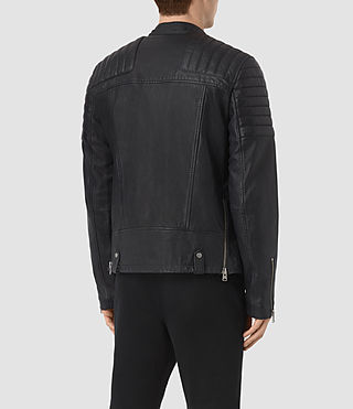 Men's Jasper Leather Biker Jacket (INK NAVY) - product_image_alt_text_5
