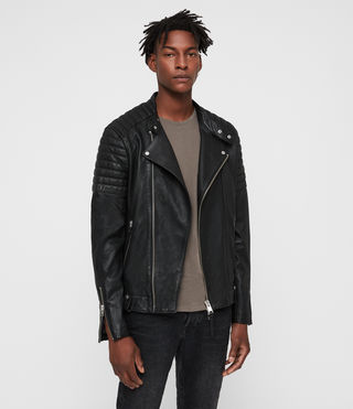 Hombre Jasper Leather Biker Jacket (Black)