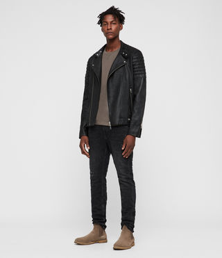 Mens Jasper Leather Biker Jacket (Black) - product_image_alt_text_3