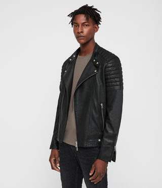 Men's Jasper Leather Biker Jacket (Black) - Image 4