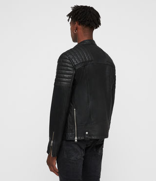 Men's Jasper Leather Biker Jacket (Black) - product_image_alt_text_6