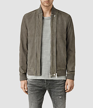 Hombres Kurne Leather Bomber Jacket (Steel Grey)