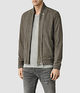Mens Kurne Leather Bomber (Steel Grey) - product_image_alt_text_2