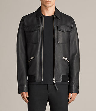 Mens Hester Leather Jacket (Black) - Image 1