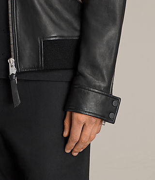 Mens Hester Leather Jacket (Black) - Image 2