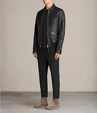 Mens Hester Leather Jacket (Black) - Image 3