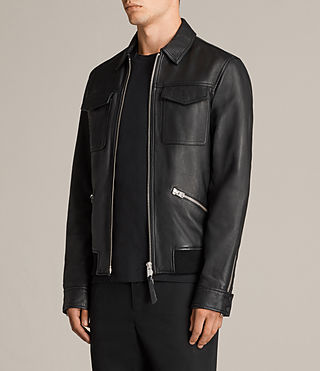Mens Hester Leather Jacket (Black) - Image 4