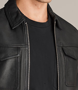 Mens Hester Leather Jacket (Black) - Image 5