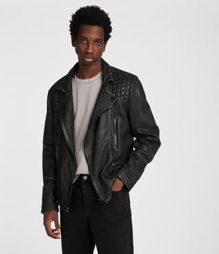 Herren Cargo Leather Biker Jacket (Black/Grey)