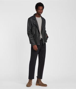 Mens Cargo Leather Biker Jacket (Black/Grey) - product_image_alt_text_2