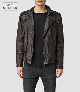 Men's Cargo Leather Biker Jacket (Brown/Black)