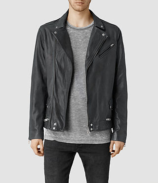 Mens Akira Leather Biker Jacket (Ink)
