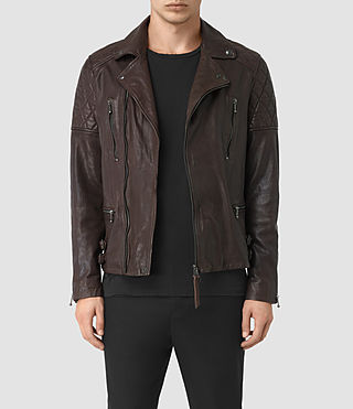 Mens Yuku Leather Biker Jacket (OXBLOOD RED) - product_image_alt_text_1