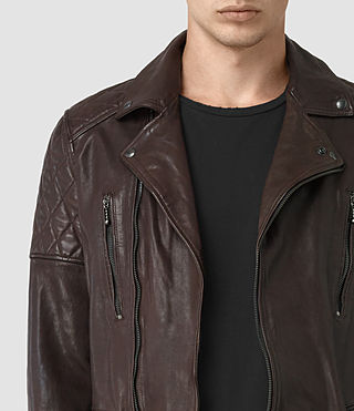 Mens Yuku Leather Biker Jacket (OXBLOOD RED) - product_image_alt_text_3