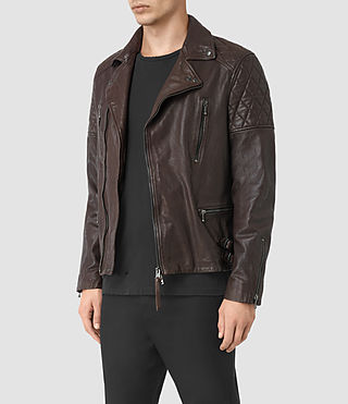 Mens Yuku Leather Biker Jacket (OXBLOOD RED) - product_image_alt_text_4