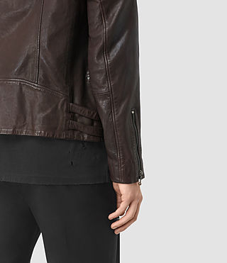 Mens Yuku Leather Biker Jacket (OXBLOOD RED) - product_image_alt_text_5