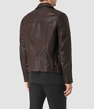 Mens Yuku Leather Biker Jacket (OXBLOOD RED) - product_image_alt_text_6