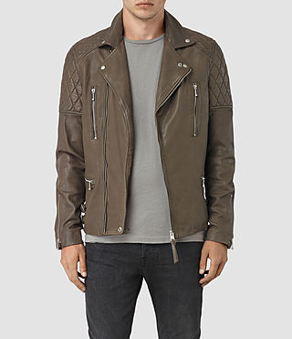 Mens Yuku Leather Biker Jacket (LIGHT SLATE GREY)