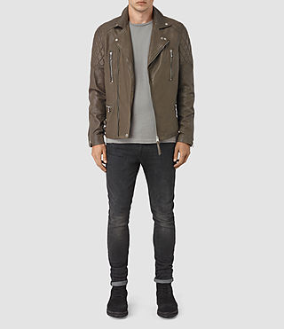 Mens Yuku Leather Biker Jacket (LIGHT SLATE GREY) - product_image_alt_text_2