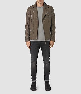 Uomo Yuku Leather Biker Jacket (LIGHT SLATE GREY) - product_image_alt_text_2