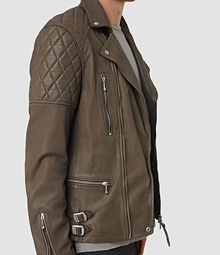 Mens Yuku Leather Biker Jacket (LIGHT SLATE GREY) - product_image_alt_text_3