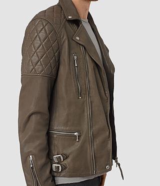 Uomo Yuku Leather Biker Jacket (LIGHT SLATE GREY) - product_image_alt_text_3