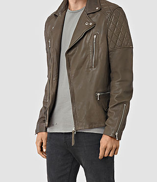 Mens Yuku Leather Biker Jacket (LIGHT SLATE GREY) - product_image_alt_text_4