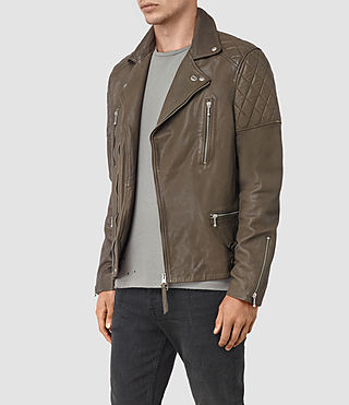 Mens Yuku Leather Biker Jacket (LIGHT SLATE GREY) - product_image_alt_text_5